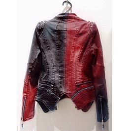 Punk Collar Stud Jacket With Dual Color Cast & Asymmetric Length