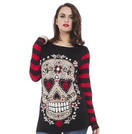 Jawbreaker Clothing Sugar Skull Sour Sweatshirt Red And White