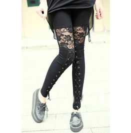 Vintage Ankle Leggings With See Through Lace Up Design