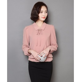 Chiffon Blouse Long Sleeves Ruffle Hem Womens Blouses