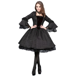 Black Victorian Gothic Knee Length Lace Vampire Dress Free Shipping