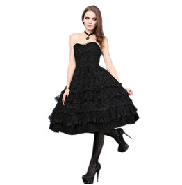 Black Gothic Lolita Strapless Knee Length Party Dress $9 To Ship Worldwide
