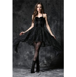 Black Gothic Flowy Jagged Skirt Halter Cross Mini Dress