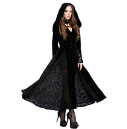 Black Hooded Elf Cloak Long Gothic Fantasy Gown Jacket