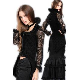 Black Victorian Vampire Jacket Gothic Long Sleeved Zip Front Top