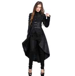 Ladies Black Victorian Vampire Jacket Long Gothic Over Coat