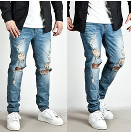 Heavy Distressed Ripped Vintage Slim Denim Jeans 205