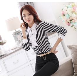 Vertical Striped Office Women Shirts Ruffles Long Sleeve Womens