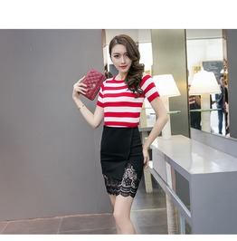 Lace Pencil Skirt Black Skirts Elastic Tight Bodycon Women's Skirt