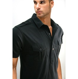 New Black Polo Shirt W/ Shoulder Pad Men Short Sleeve Casual Size S M L Xl
