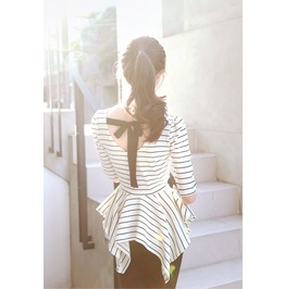 White And Black Striped Backless Bow Slim Fit Knitting Blouses