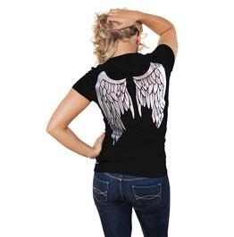 New Lady Black Angel Wings Tattoo T Shirt Top Sz S M