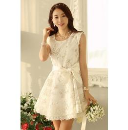 Cute Floral Print Organza Ball Gown White Lace Dress