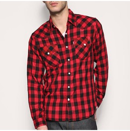 Black R Ed Check Snap Long Sleeve Shirt Vintage Rocakbilly