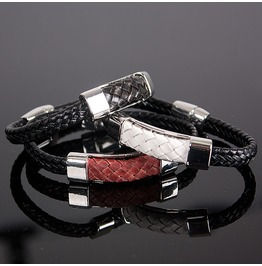 Braided Leather Bar Accent Bracelet 46