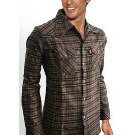 Men Brown Plaid Check Western Lumberjack Long Sleeve Flannel Shirt