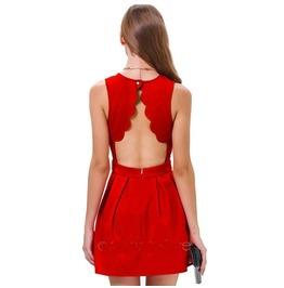 High Waist Ladies Dresses Sleeveless O Neck Pleated