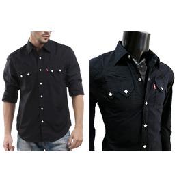 ์nwt Men Black Western Cowboy White Square Snap Long Sleeve Shirt Size S