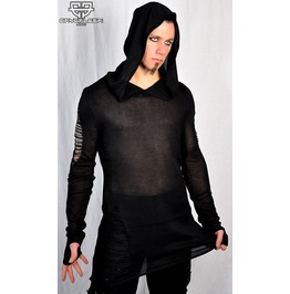 Black Widow Hooded Tattered Post Apocalyptic Mad Max Black Emo Goth Hoodie