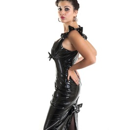 Black Vinyl Dress Knee Skirt Pvc Gothic Dark Mistress Ruffle Sleeve Bow