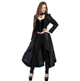 Ladies Black Victorian Corset Back Jacket Long Gothic Over Coat