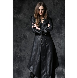 Ladies Black Gothic Double Breasted Jacket Long Goth Over Coat