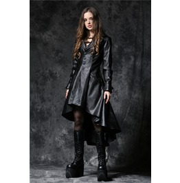 Ladies Black Gothic Hooded Dovetail Long Vegan Leather Jacket