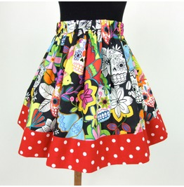 Birds, Skulls, And Flowers Girl's Skirt