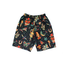 Black Rockabilly Tattoo Boy's Shorts