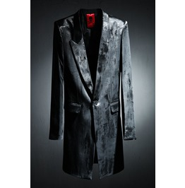 Men's Custom Cover Painting Black Long Blazer