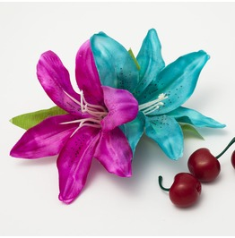 Turquoise And Hot Pink Double Lily Hair Flower