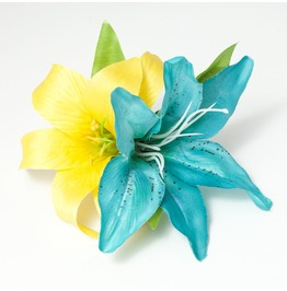 Tropical Turquoise Yellow Double Lily Hair Flower