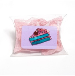 Pink Icing Turquoise Slice Of Cake Brooch