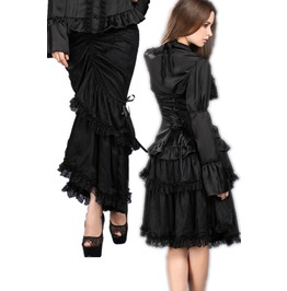 Ladies Black Victorian Gothic Short Or Long Bustle Tie Up Multi Use Skirt