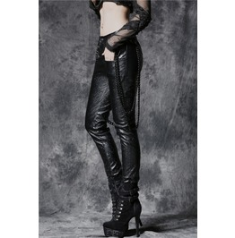 Ladies Black Faux Leather Rocker Chain Pants Goth Punk Trousers