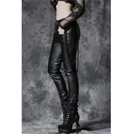 Ladies Black Faux Leather Rocker Chain Pants Goth Punk Trousers $9 To Ship