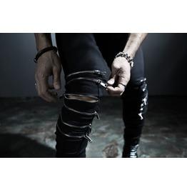 Men's Six Zipper Line Skinny Pants