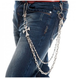 Cross Accented With Zircon Metal Pant Chain Accessory