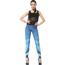 Blue Feather Style Print Leggings Pants