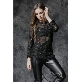 Ladies Black Skull Mesh Long Sleeve Goth Punk Top $9 Ships Worldwide
