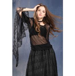 Ladies Black Mesh Romantic Goth Lace Poet Bell Sleeve Shirt $9 To Ship