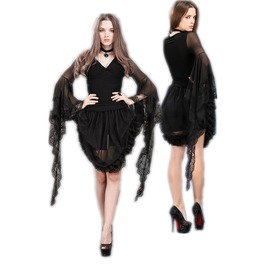 Ladies Black Romantic Bell Ruffle Sleeve Top Lace Goth T Shirt $9 To Ship