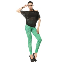 Mermaid Scale Print Leggings Pants
