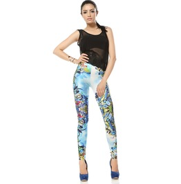 Pattern Floral Print Leggings Pants