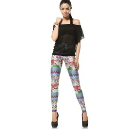 Geometric Cute Flowers Grass Print Cool Leggings