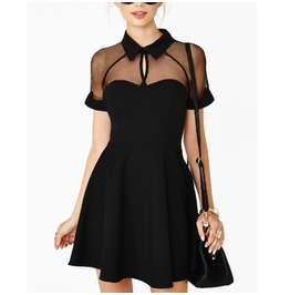 Splice Dress Polo Neck Hot Party Dresses Plus Size