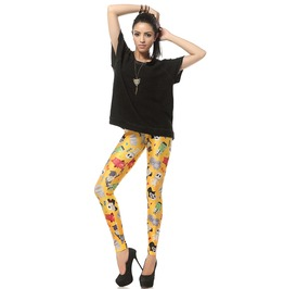 Yellow Cartoon Theme Leggings Pants