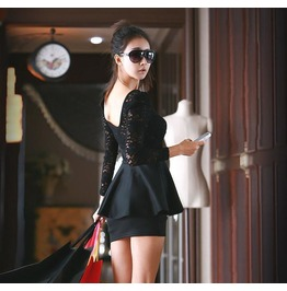 Black Sheath Sexy Mini Hollow Out Short O Neck Lace Brief Dress
