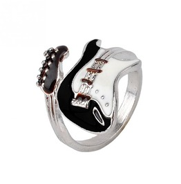 Jewelry Black White Varnish Guitar Shaped Oiled Ring