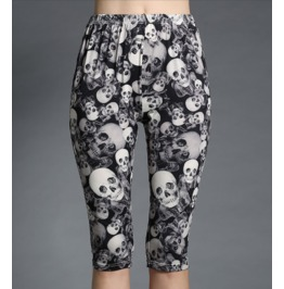 Women's Casual Gothic Skull Printed Knee Length Harem Leggings